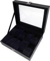 Max 818200384 Horlogedoos - 10 Compartimenten met Kussentjes - Zwart