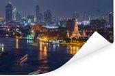 Skyline van Bangkok met de Wat Pho Poster 120x80 cm - Foto print op Poster (wanddecoratie woonkamer / slaapkamer)