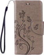 Voor Asus Zenfone 3 Max ? / ZC520TL Vlinders liefde Bloemens Embossing horizontaal spiegelen lederen hoesje met houder & opbergruimte voor pinpassen & portemonnee & Lanyard(grijs)