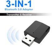 DrPhone 3-in-1 USB Bluetooth 5.0 (EDR) Wireless audiozender / ontvanger adapter voor TV / PC / Auto -  Zwart