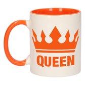 1x Koningsdag Queen beker / mok - oranje met wit - 300 ml keramiek - oranje bekers