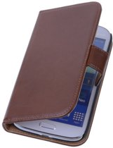PU Leder Bruin Hoesje Sasung Galaxy Grand Neo Book/Wallet Case/Cover