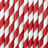 Gestreepte papieren rietjes rood/wit 10x stuks