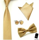 Luxe set stropdas inclusief vlinderstrik pochette en manchetknopen - Goud/Champagne - Sorprese - strik - strikje - vlinderdas - pochet - heren