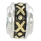 Quiges Bedel Bead - 925 Zilver - 14 Karaat Verguld Kruisjes Kraal Charm - Z360