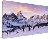 Winterlandschap in het Nationaal park Banff in Noord-Amerika Canvas 40x20 cm - Foto print op Canvas schilderij (Wanddecoratie woonkamer / slaapkamer)