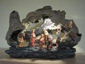 Kerststal - Kerstkribbe - Kerstgroep - 8 Figuren - met ledverlichting