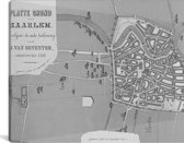 Historische zwart witte plattegrond van Haarlem Canvas 80x40 cm - Foto print op Canvas schilderij (Wanddecoratie woonkamer / slaapkamer)