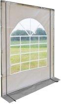 Partytent zijwand PVC met ramen | 2 meter | 200cm hoog - met ritsen | Grijs  wit