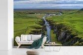Fotobehang vinyl - Luchtfoto van een rivier in het Europese IJsland breedte 450 cm x hoogte 300 cm - Foto print op behang (in 7 formaten beschikbaar)
