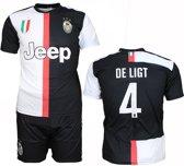 Juventus Replica Matthijs de Ligt Thuis Tenue Voetbalshirt + Broek Set Seizoen 2019/2020 Zwart / Wit, Maat:  140