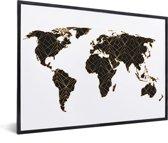 Wereldkaart Zwart Goud Lijnen Schilderij in lijst wit 60x40 cm