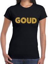 GOUD glitter tekst t-shirt zwart dames M