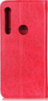 Mobigear Magnetic Buckle Retro Luxe Wallet Hoesje Rood Motorola One Macro