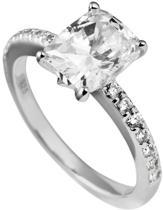 Diamonfire - Zilveren ring met steen Maat 18.5 - Rechthoekige Solitaire - Bezette band