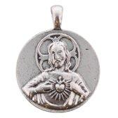 2-zijdige zilveren munt/hanger voor bij bijpassende ketting. Doorsnede 3 centimeter.