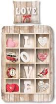 Snoozing Love flanel dekbedovertrek Multi 1-persoons (140x200/220 cm + 1 sloop)