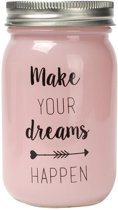 Dresz Spaarpot Make Your Dreams Happen Glas 13 Cm Roze