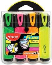 24x Maped markeerstift Fluo'Peps Classic etui van 4 stuks: geel, oranje, roze en groen