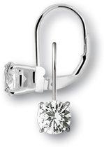 Silventi 921301135 Zilveren oorhangers - zirkonia rond 6 mm - lengte 1,7 cm - zilverkleurig