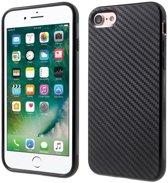 GadgetBay Carbon Fiber iPhone 7 8 TPU hoesje zwarte opdruk