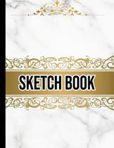Sketch Book: Practice Drawing, Doodle, Paint, Write: Large Sketchbook And Creative Journal (Beautiful White and Gold Gothic Marble