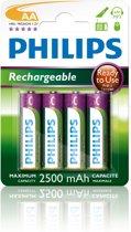 Philips AA Oplaadbare batterijen - 4 stuks - 2500 mAH