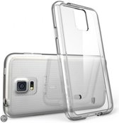 SMH Royal - voor Samsung S5 Transparant Ultra Dunne TPU Siliconen case Hoesje  +  Tempered Glass Screen Protector