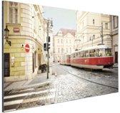 Tram in Praag Aluminium 180x120 cm - Foto print op Aluminium (metaal wanddecoratie) XXL / Groot formaat!
