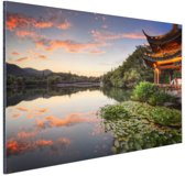 Zonsondergang Hangzhou Aluminium 120x80 cm - Foto print op Aluminium (metaal wanddecoratie)