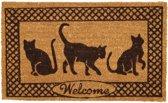 Clayre & Eef Deurmat katten - 75 x 45 cm - Cocos - Zwart bruin
