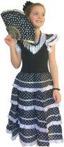 Spaanse jurk - Flamenco - Zwart/Wit - Maat 140/146 (12) - Verkleed jurk