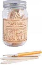 Plantenlabels + potlood in glazen pot - set van 4 stuks