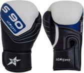 Leren bokshandschoenen Starpro S90   zwart-wit-blauw 14 oz