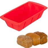 KitchenBrothers Siliconen Brood Bakvorm - Vierkant Cake Vorm - Bakblik Mal - Broodvorm - Keek - Anti Aanbak & 100% BPA Vrij – Rood