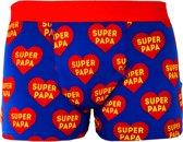 MijnOnderbroek Super Papa Heren Boxershort - Vaderdag TIP - Blauw/Rood - Maat M