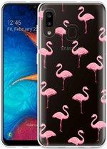 Galaxy A20 Hoesje Flamingo