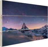 Winterlandschap bij nacht Hout 160x120 cm - Foto print op Hout (Wanddecoratie) XXL / Groot formaat!