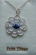 Souvenir Collier 42 cm - Zilver met Delftsblauw steentje 5 mm