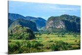 Karstlandschap bij de Vallei van de Viñales in Cuba Aluminium 90x60 cm - Foto print op Aluminium (metaal wanddecoratie)