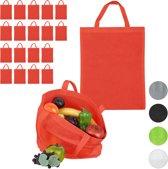 relaxdays 20 x boodschappentas - stoffen tas - effen gekleurd opvouwbaar - 50x40 - rood