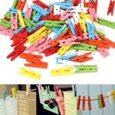 Kleurrijke Houten Mini Wasknijpers Set aa commerce- 100X - Kleine Foto Knijpers / Knijpertjes