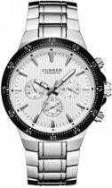 Curren Silver/White Steel - Heren Horloge - Staal - Zilver/Wit - 48 mm