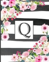 Q: Pretty Monogram Initial Letter Q Lined Notebook for Women or Girls to Write In - Black & White Stripes with Floral Des