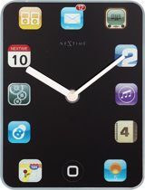 NeXtime Mini Wall Pad - Klok - Rechthoekig - Glas - 15x20 cm - Zwart