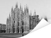 Zwart wit foto van de Kathedraal van Milaan in Italië Poster 160x120 cm - Foto print op Poster (wanddecoratie woonkamer / slaapkamer) XXL / Groot formaat!
