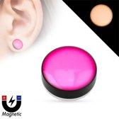 Fake plug piercing glow in the dark roze ©LMPiercings
