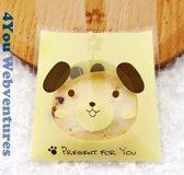 50x Transparante Uitdeelzakjes Hond Design Geel 10 x 10 cm met plakstrip - Cellofaan Plastic Traktatie Kado Zakjes - Snoepzakjes - Koekzakjes - Koekje - Cookie Bags Present for You