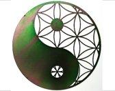 Yin-Yang i.c.m. Levensbloem - 2mm staal - olieachtige gloed