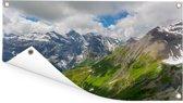 De Zwitserse Alpen met daarop de bekende berg Schilthorn Tuinposter 120x80 cm - Tuindoek / Buitencanvas / Schilderijen voor buiten (tuin decoratie)